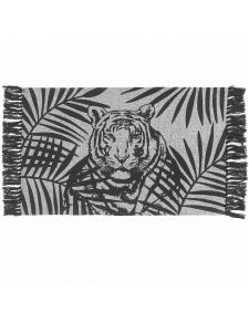 Tapis déco frangé à tête de tigre