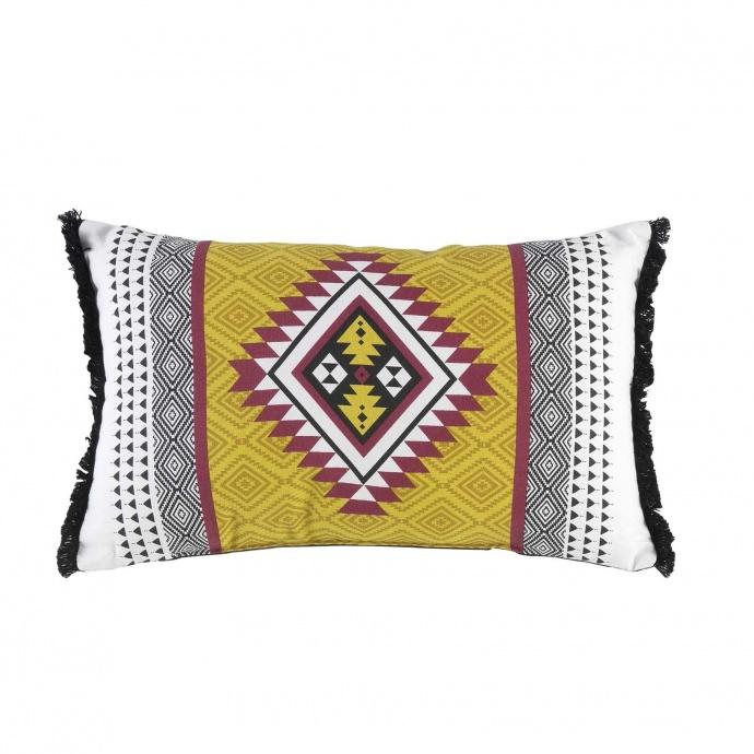 Coussin motif berbère et franges ( Multicolore)