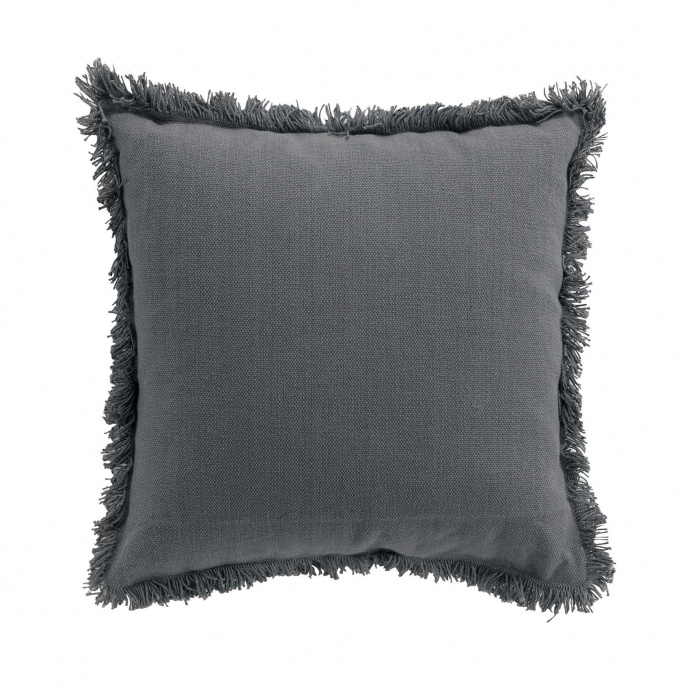 Coussin déhoussable à franges (Anthracite)