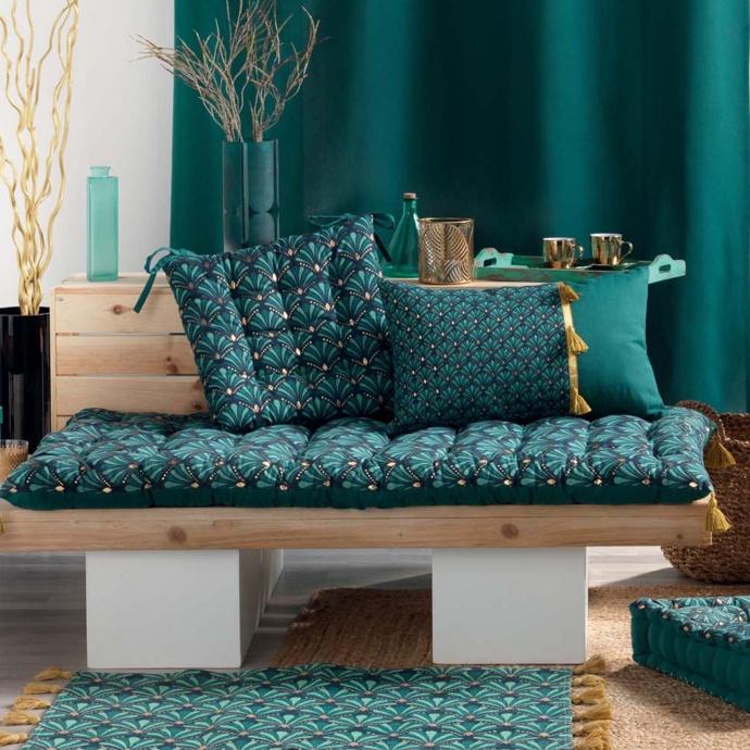Galette de chaise art déco (Bleu)