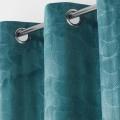 Rideau en velours motif feuillage exotique (Bleu)