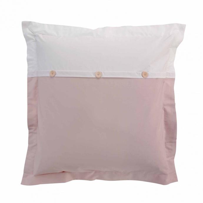 Parure de lit finition boutons bois (Rose/Blanc)