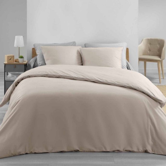 Parure de lit finition dentelle (Kaki/Blanc)