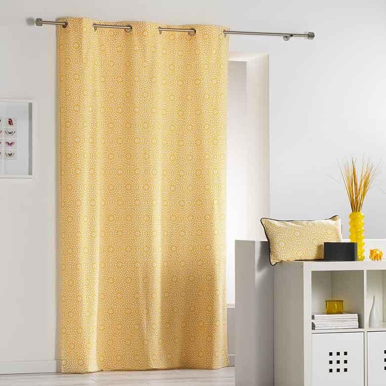 rideau avec motif g om trique fleurs jaune indigo corail menthe gris. Black Bedroom Furniture Sets. Home Design Ideas