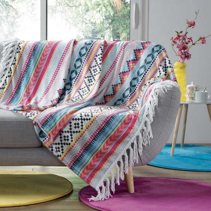 Plaid à Franges Esprit Mexicain (Multicolore)