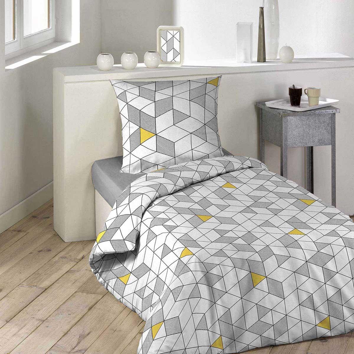 parure de lit graphique blanc gris homemaison vente en ligne parures de lit. Black Bedroom Furniture Sets. Home Design Ideas