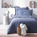 Housse de Couette Unie en Poly/Coton (Bleu)