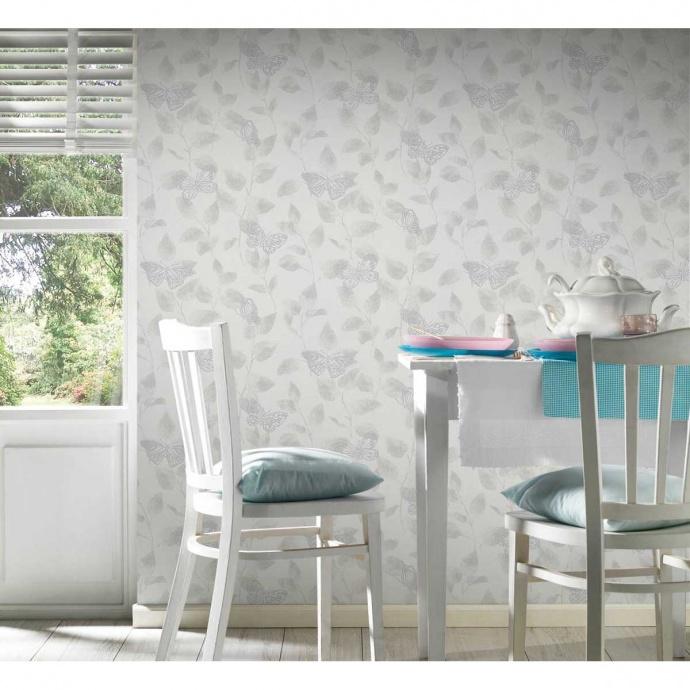 Papier peint imprimé lierre et papillons (Blanc)