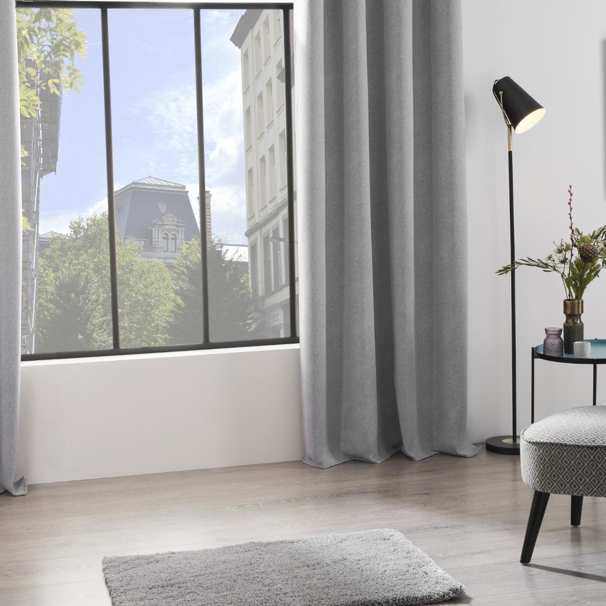 Paire de rideaux occultants imprim s gris lin anthracite homemaison vente en ligne for Rideaux imprimes