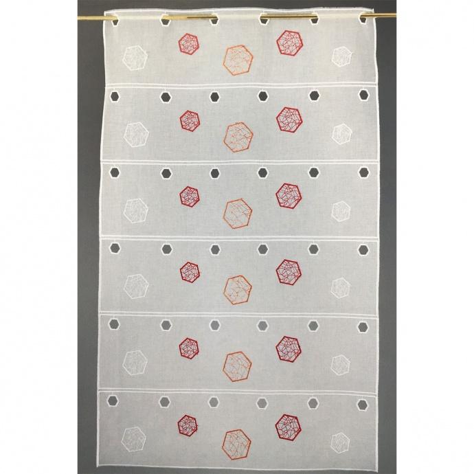 Brise bise modulable en étamine brodée de figures hexagonales (Piment)