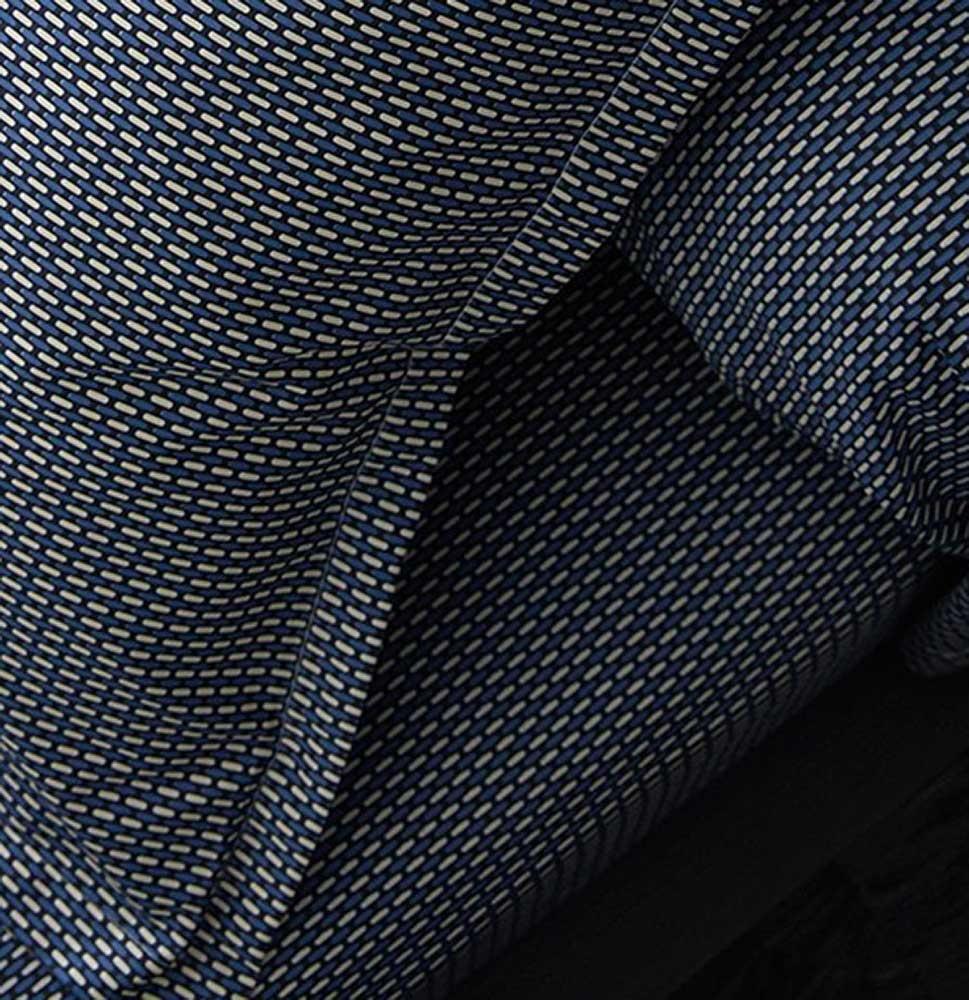 Drap Housse Imprimé en Satin de Coton (Bleu Gris)