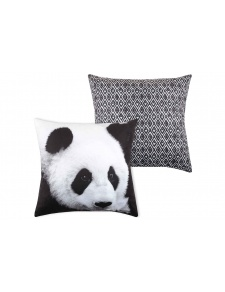 Cojín de Terciopelo Panda Negro