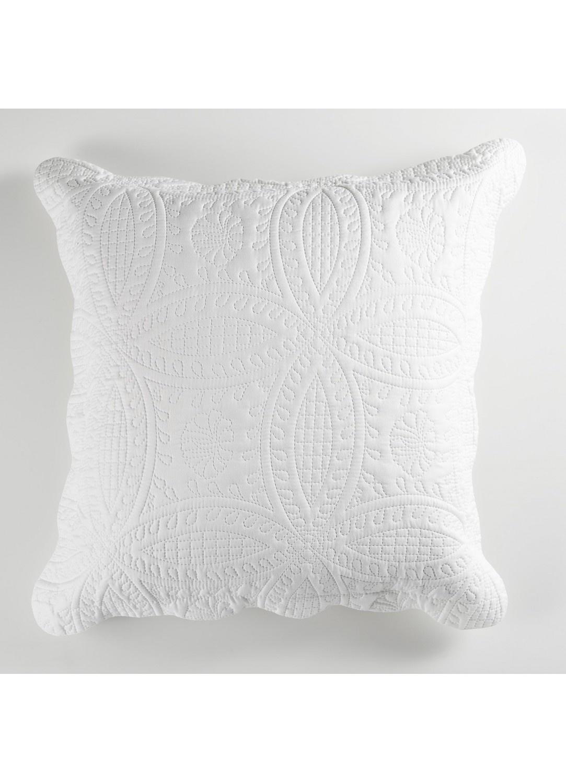 Housse de Coussin Matelassée Motif Géométrique (Blanc)