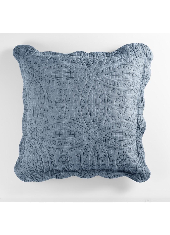 Housse de Coussin Matelassée Motif Géométrique (Bleu)