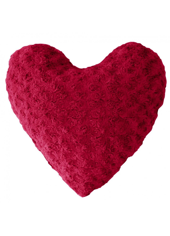 Coussin Cœur Imitation Fourrure (Rouge)