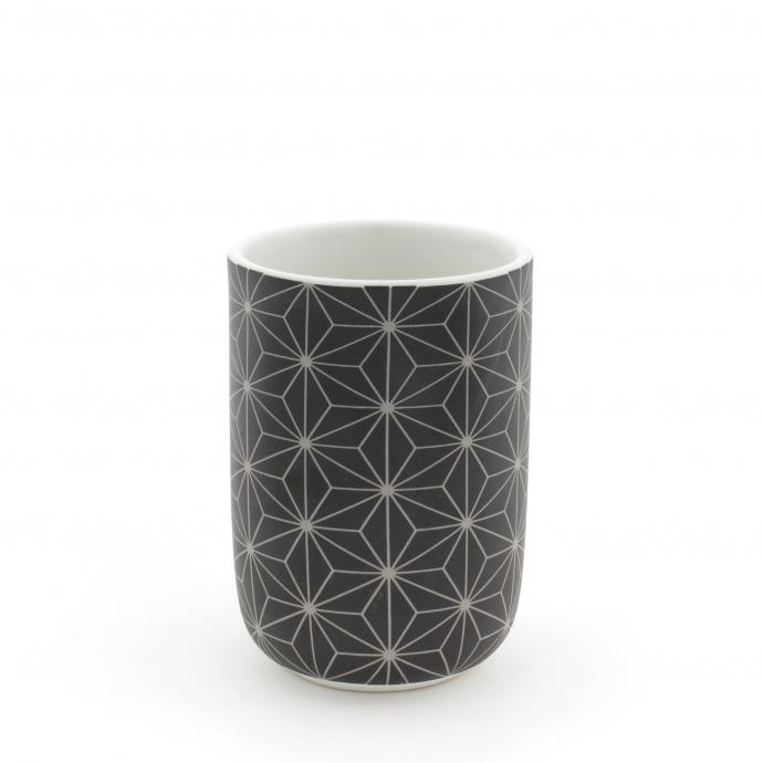 Gobelet en Céramique à Motifs Graphiques (Noir)