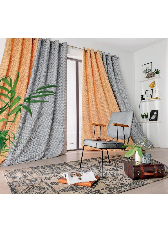 rideau motifs g om triques florales noir et blanc jaune homemaison vente en ligne. Black Bedroom Furniture Sets. Home Design Ideas