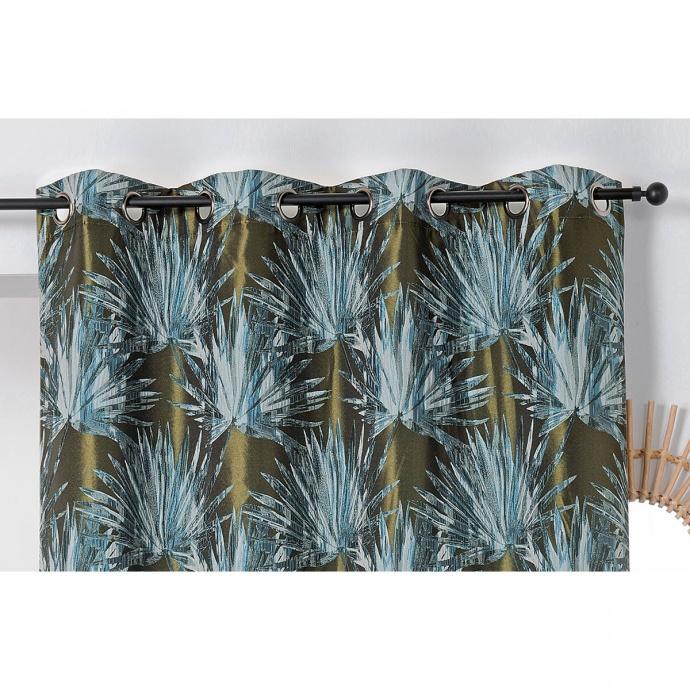 Cortina tamizante con hojas tropicales (Azul)