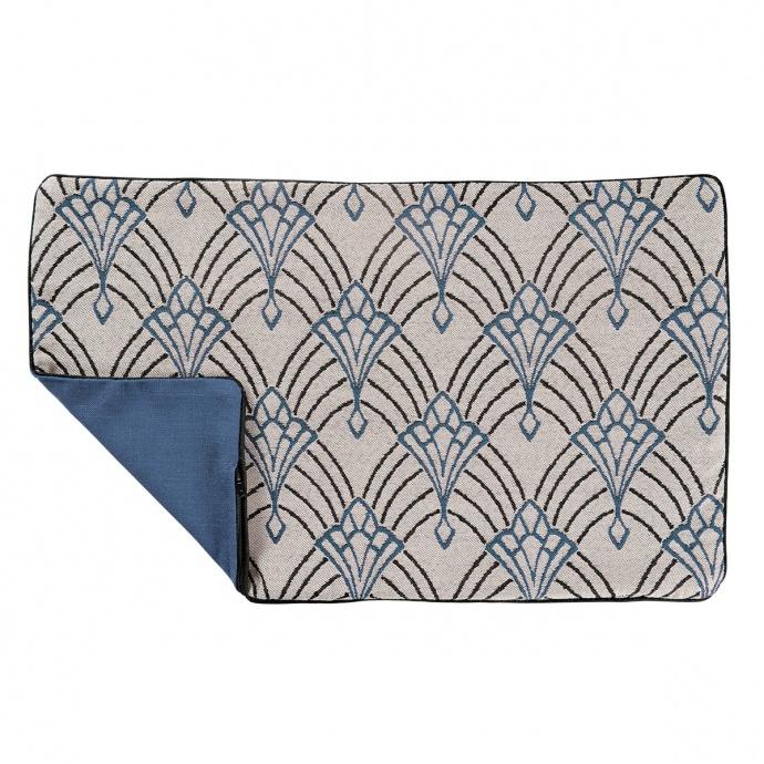 Housse de coussin imprimée art décoratif (Bleu)