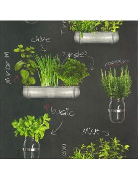 Papier peint imprimé plantes aromatiques