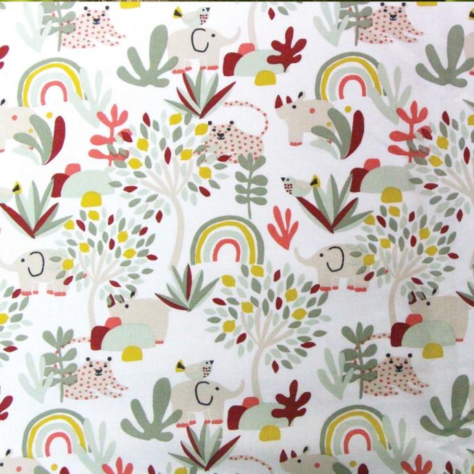 Lot de 4 masques en tissu aux impressions colorées (Blanc)