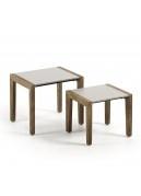 Duo de tables d'appoint en bois et ciment