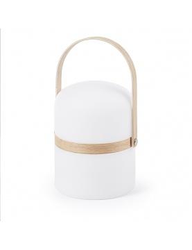 Lámpara led con asa de madera