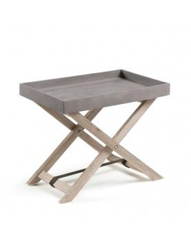 Table d'appoint en acacia et plateau amovible en ciment