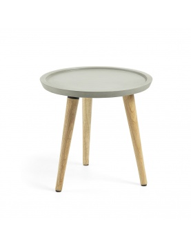 Table d'appoint en ciment et bois de caoutchouc