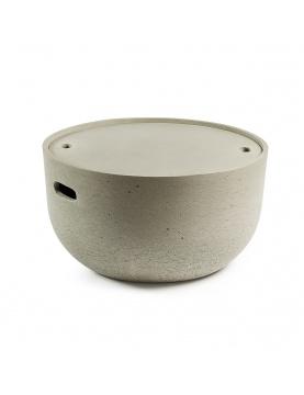Table d'appoint en ciment avec plateau amovible