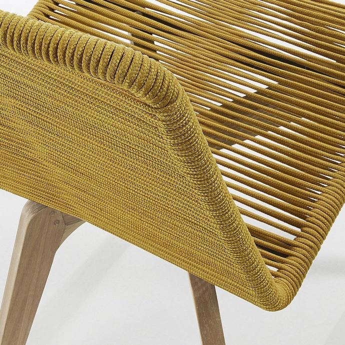 Lot de 2 chaises en corde à l'esprit scandinave (Moutarde)