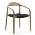 Ensemble de 4 chaises en bois et corde (Noir)