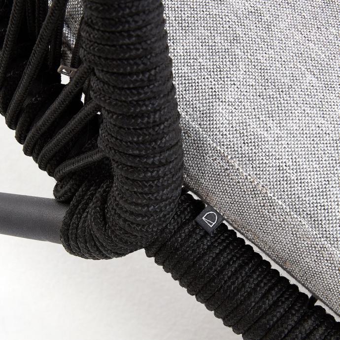 Chaise longue en acier et corde (Noir)