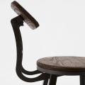 Tabouret haut en bois d'orme et acier ( Graphite Mat )