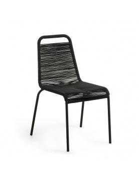 Lot de 4 chaises avec structure en acier galvanisé et corde
