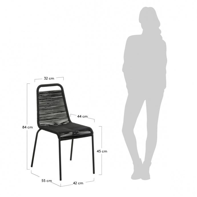 Lot de 4 chaises avec structure en acier galvanisé et corde (Noir)