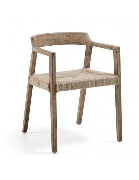 Chaise avec accoudoirs en teck et osier