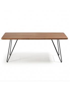 Table moderne en teck et acier