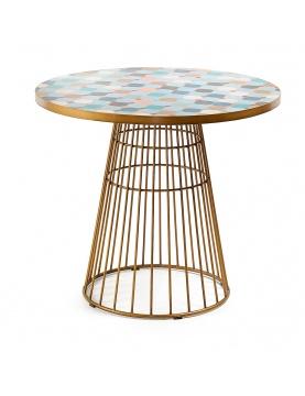 Table dorée en mosaïque multicolore
