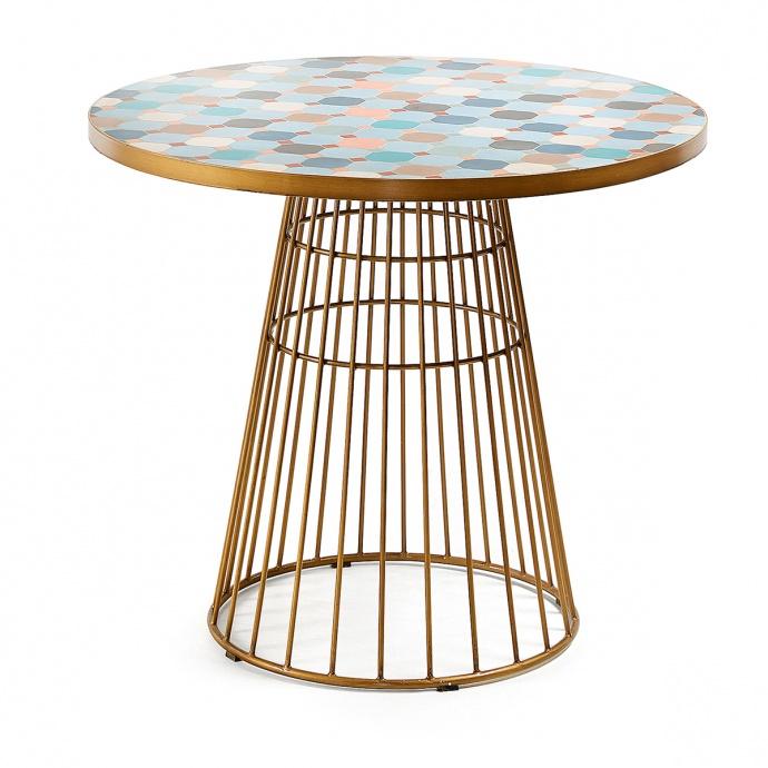 Table dorée en mosaïque multicolore ( Multicolore)