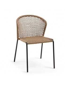 Lot de 4 chaises à accoudoirs et tissage carré