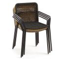Lot de 4 chaises à maille carrée ajourée (Beige)