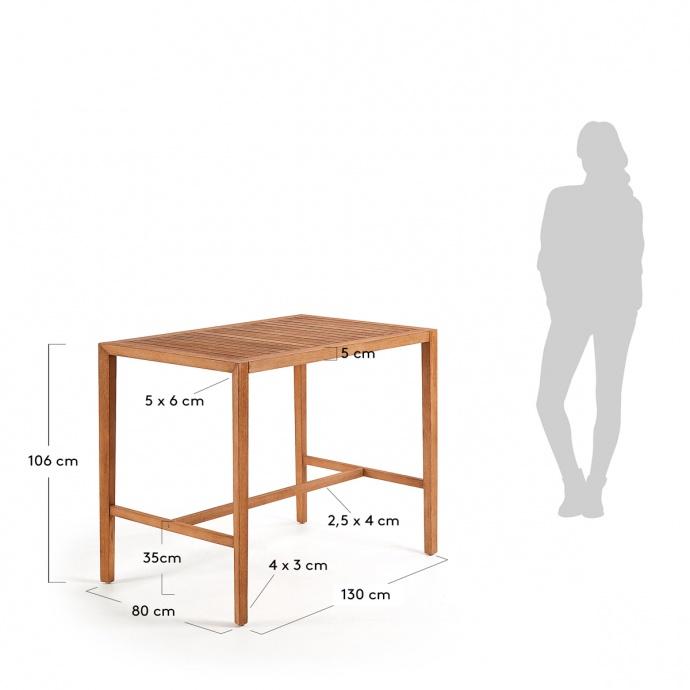 Table haute en bois d'eucalyptus (Bois)