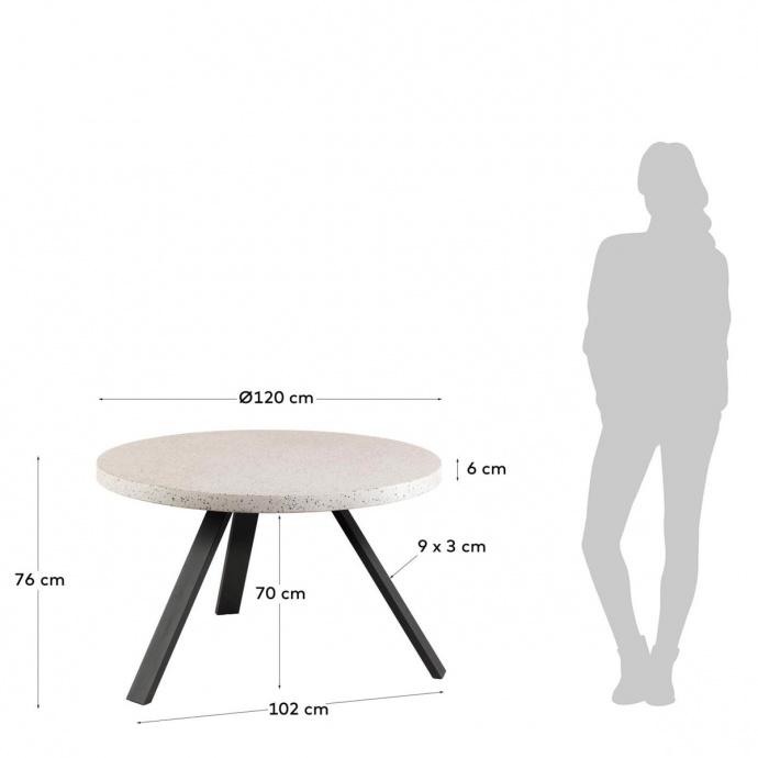 Table basse ronde à effet granite (Blanc)