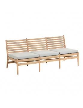 Canapé 3 places avec coussins en bois d' eucalyptus