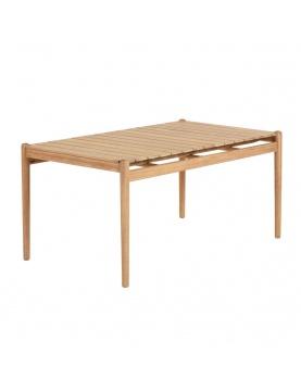 Table rectangulaire avec plateau en latte de bois