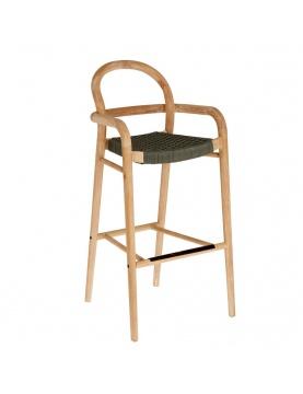 Chaise haute tressée en corde plate