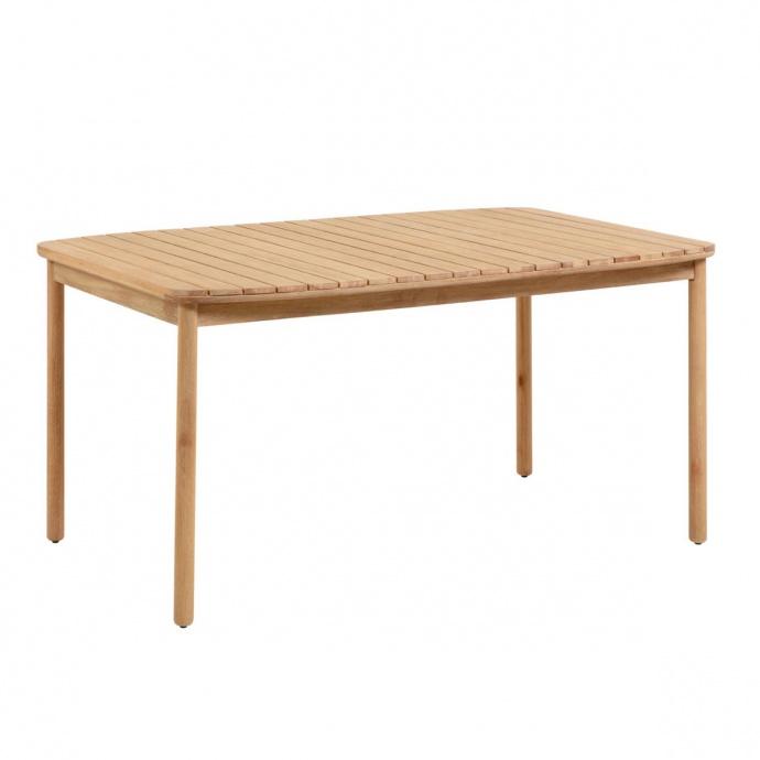 Table à lattes en bois massif (Naturel)