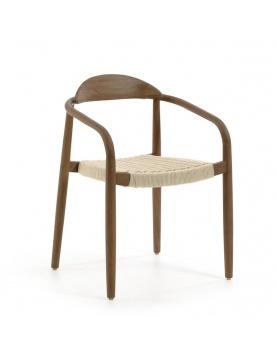 Lot de 4 chaises au bois foncé de noyer
