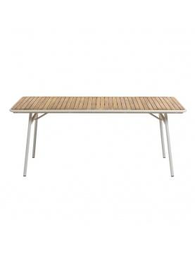 Table en acacia et acier blanc